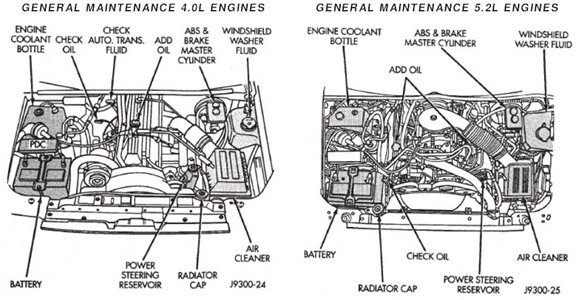 1995 jeep cherokee engine compartment diagram
