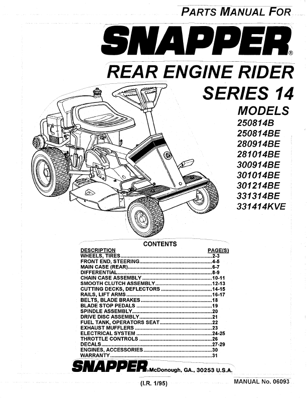 snapper lawn tractor wiring diagram