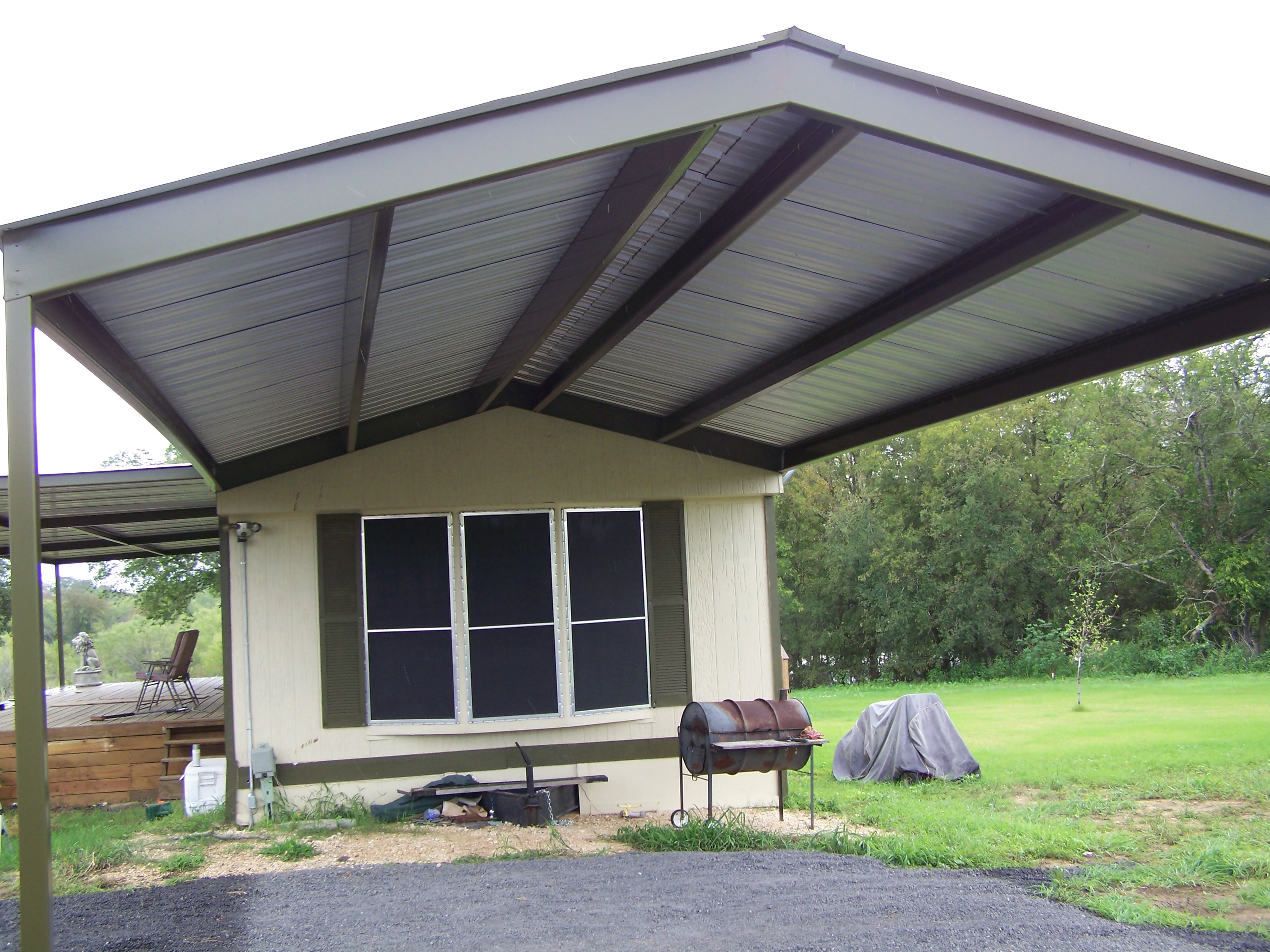 mobile home metal roof awning carport