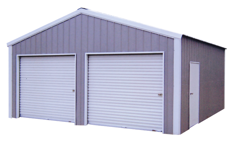 steel buildings two car garage with side entry and two front roll up doors