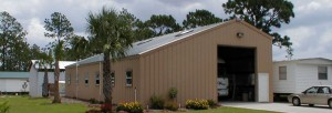 Steel Buildings Recreational Vehicle Type with enclosed work Area.