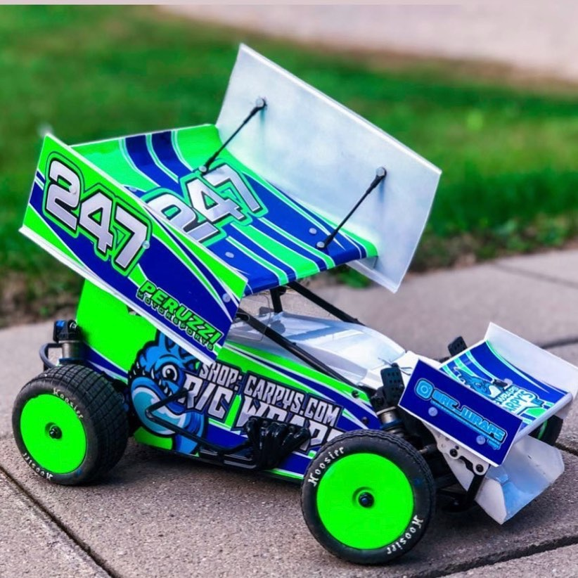 Fluorescent Green CustomWorks Wrapped Sprint Car Designed To Order.