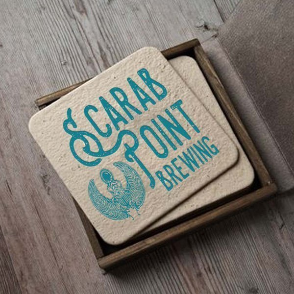 Scarab Point Brewery Logo on Coasters