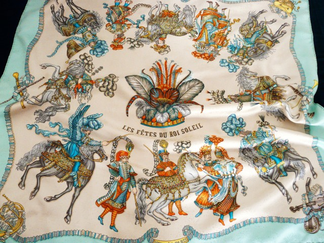 Authentic Vintage Hermès Silk Jacquard Scarf Les Fetes du Roi Soleil