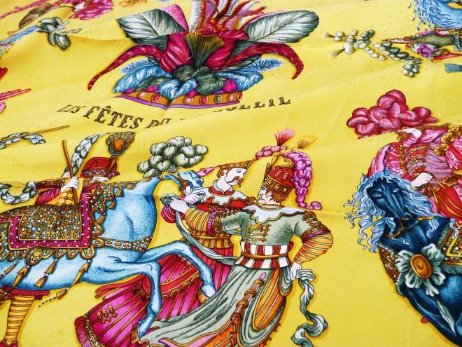 Hermes Scarf Les Fetes Du Roi Soleil, Authentic Vintage Jacquard Silk Scarf