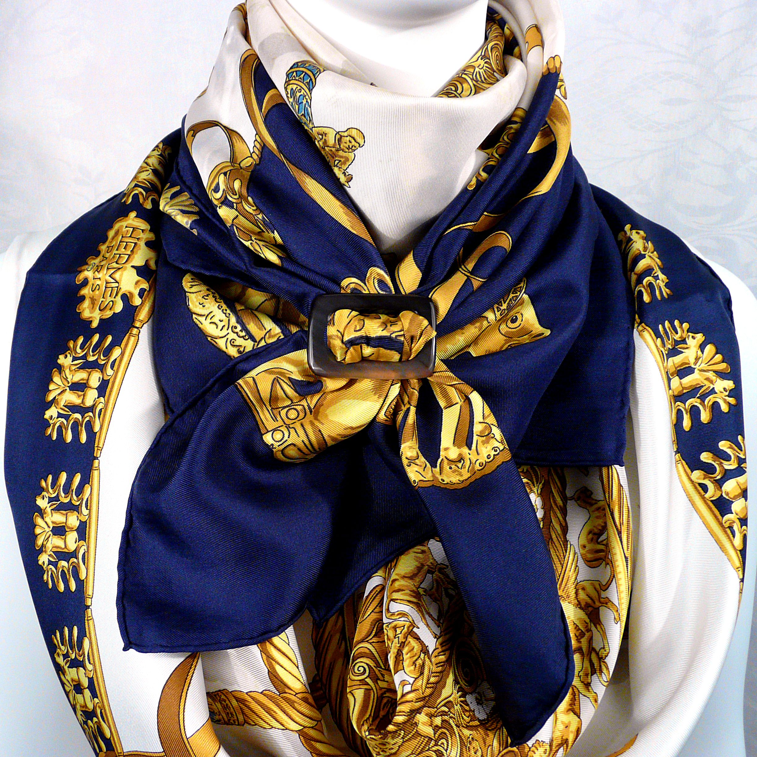 2 Cavaliers d'Or HERMES Scarves with Anneau Ceinture Horn Scarf Ring Carre de Paris II