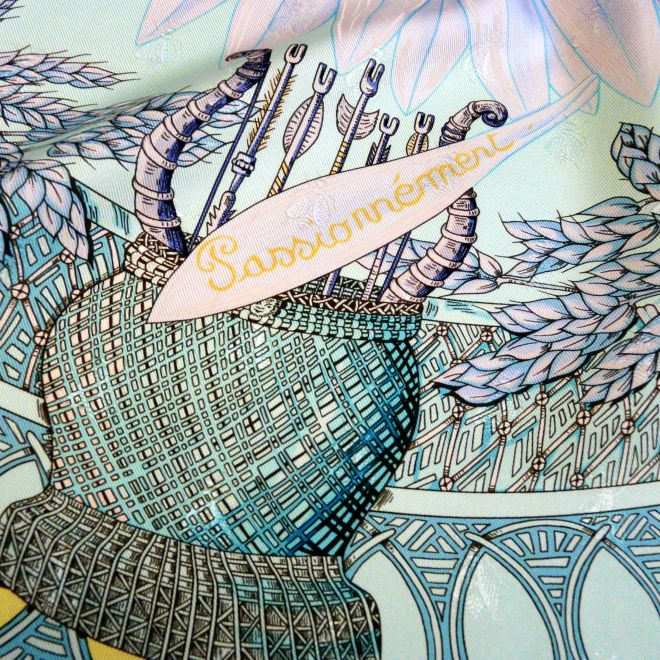 Amours Hermes Silk Jacquard, Annie Faivre, 1999, Close up with Monkey