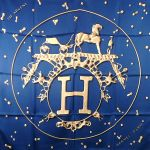 Authentic Vif Ardent HERMES Silk Scarf Blue
