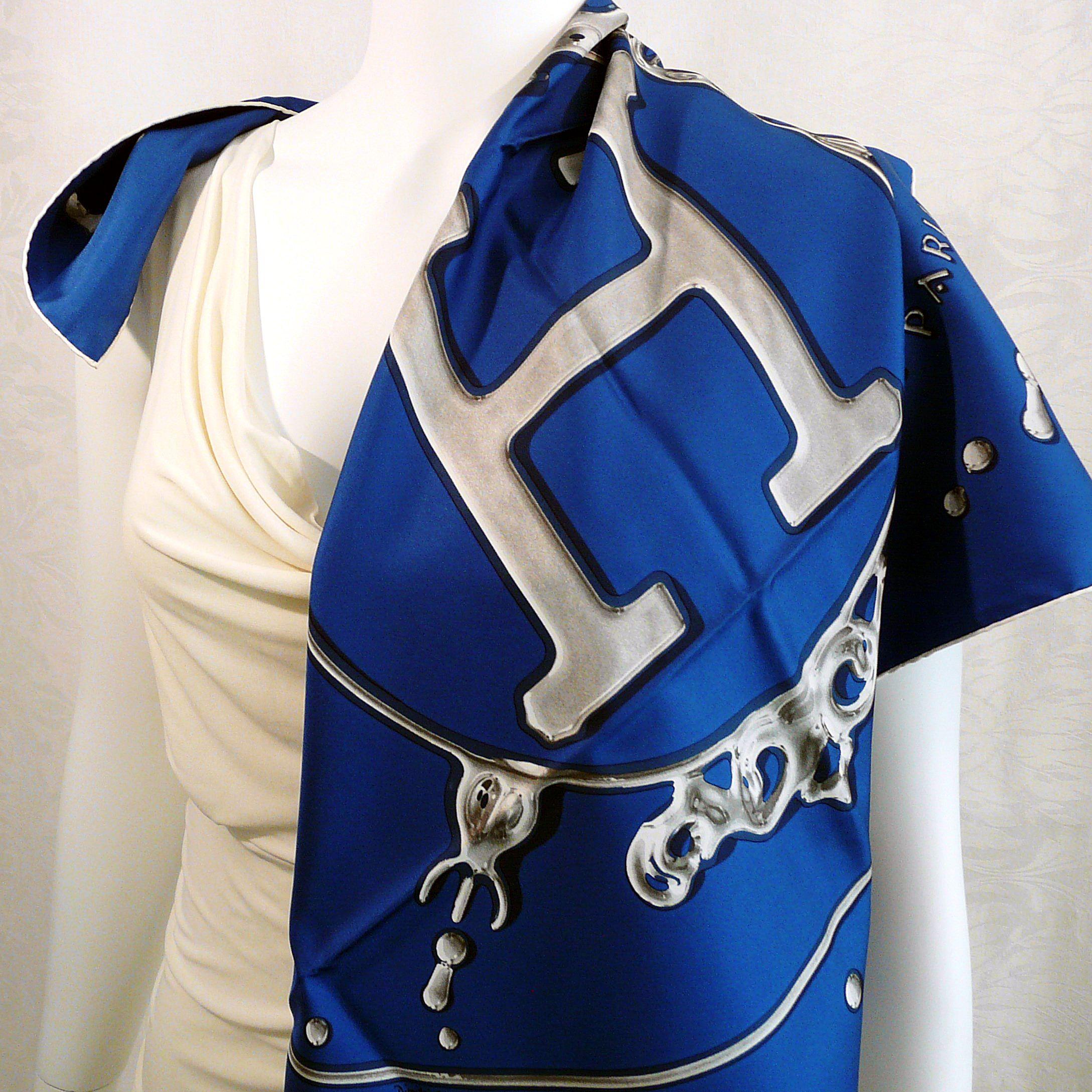 Vif Ardent HERMES 36 inch Silk Scarf Blue