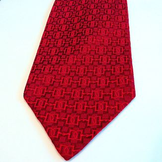 Faconnee Jacquard True Red Hermes Silk Tie
