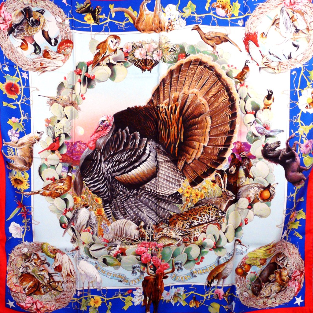 Faune et Flore Du Texas - Texas Wildlife HERMES Silk Scarf red border