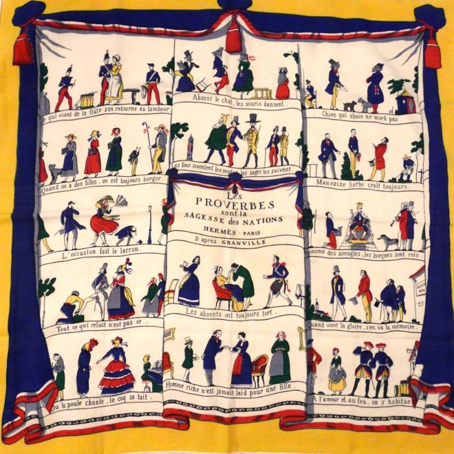 Les Proverbes Extremely Rare Wool 70 cm Carre by Hugo Grygkar