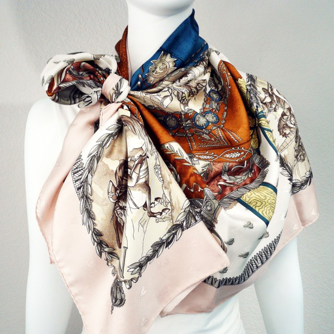 Napoleon HERMES Paris Bee Silk Jacquard Scarf Pink with Scarf Ring