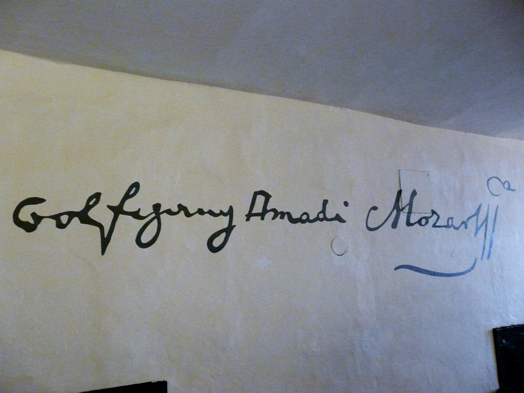 Wolfgang Amadeus Mozart Signature as seen on a wall in his birth home in Salzburg
