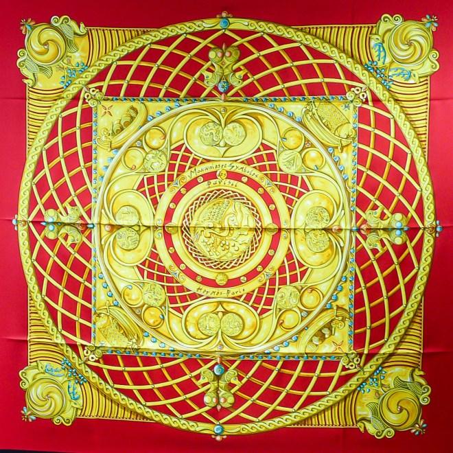 Monnaies et Symboles de Parisii HERMES carre, red with black border