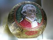 """Mozart Kugel is a delicious Chocolate """"truffle"""", pictured is a large display version from Mozart's museum"""