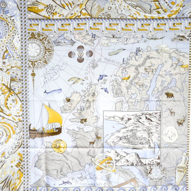 Le Voyage de Pythéas HERMES Silk Scarf by Aline Honore in golden yellow/white/violet colorway