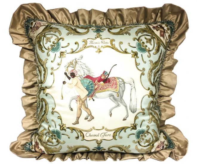 Cheval Turc Upcycled HERMES Silk Scarf Pillow-15