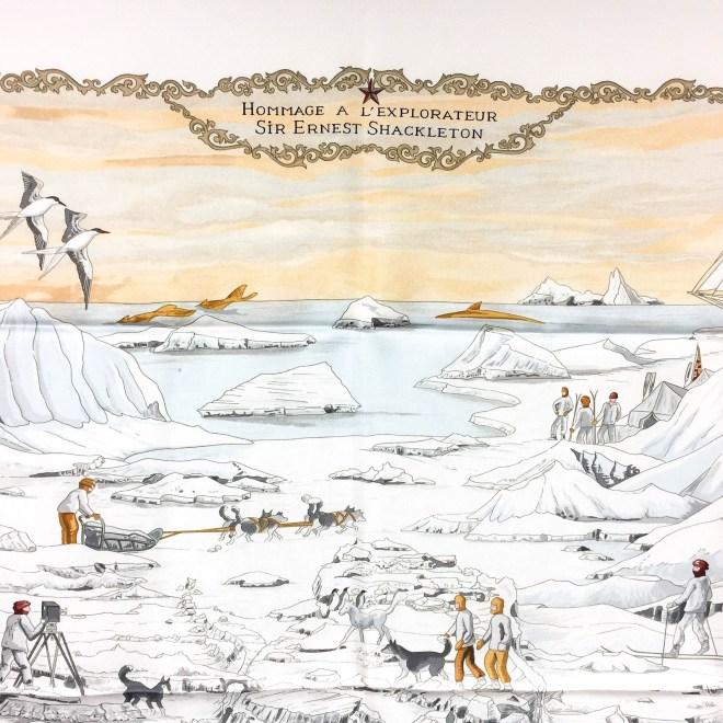Hommage a l'Explorateur Sir Ernest Shackleton HERMES Grail Silk Scarf_-6