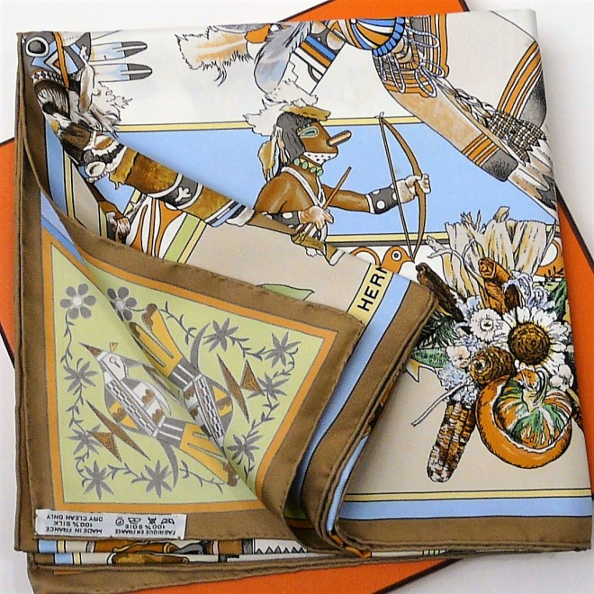 Kachinas HERMES Silk Carre Neutrals