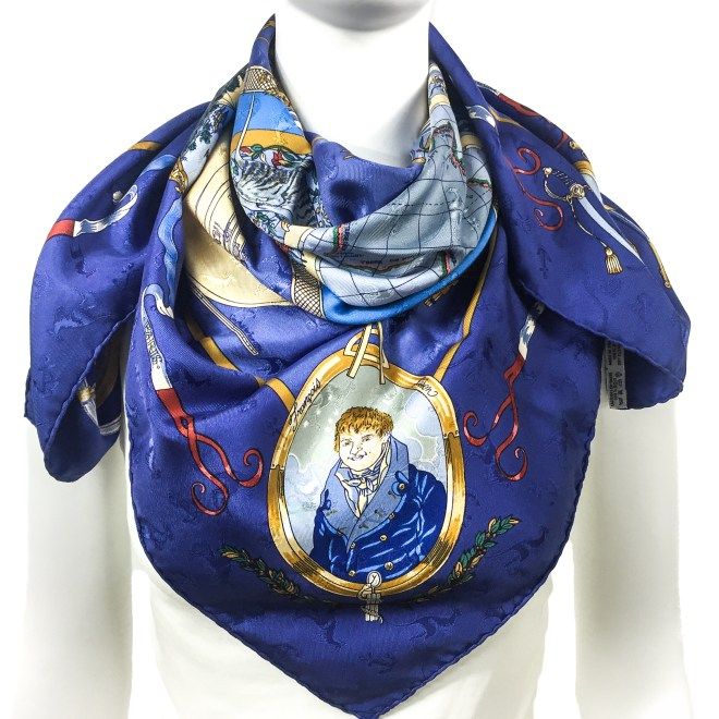 Geogrape HERMES Silk Jacquard Scarf Blue