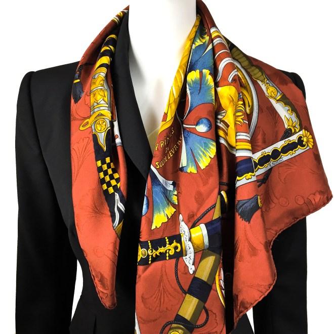 Daimyo - Princes Du Soleil Levant Vintage Hermes Silk Jacquard Scarf-3