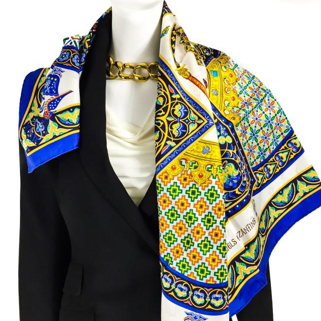 Ciels Byzantins Hermes Silk Jacquard Scarf_-15