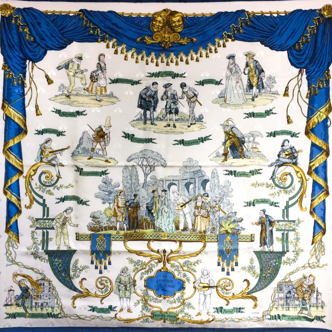Hermes Jacquard Silk Scarf La Comedie Italienne Rare Collector's Scarf.jpg