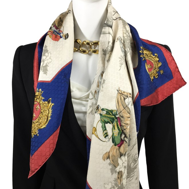 Hermes Silk Jacquard Scarf Venerie des Princes RARE-11
