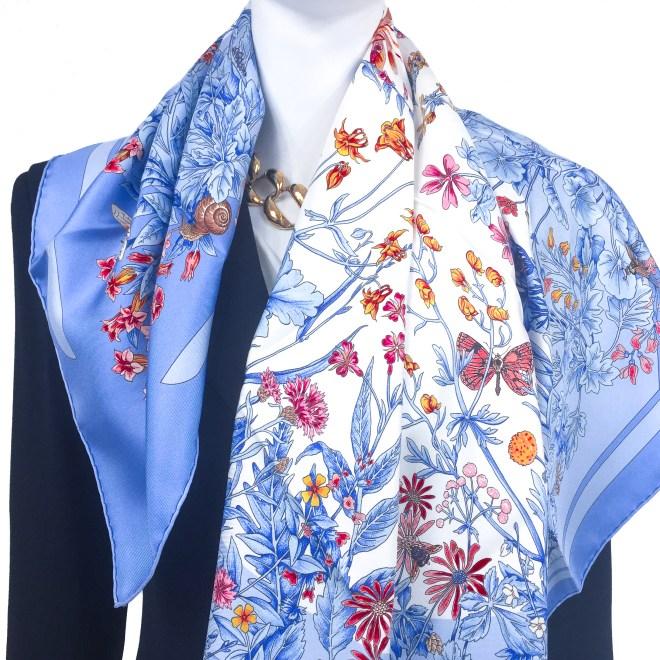 Hermes Silk Scarf La Prairie Blue CW-3