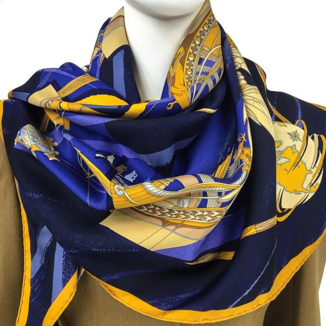 Hermes Silk Scarf Face au Large Blue-12