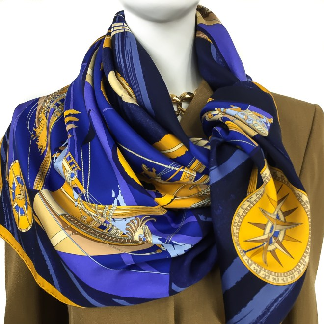 Hermes Silk Scarf Face au Large Blue-13