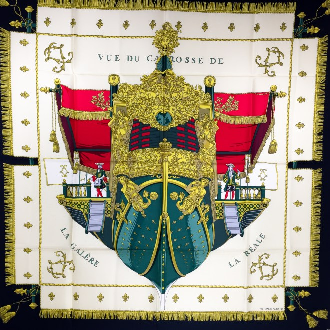 Hermes La Reale - Vue du Carosse de la Galere Silk Scarf UNWORN-2