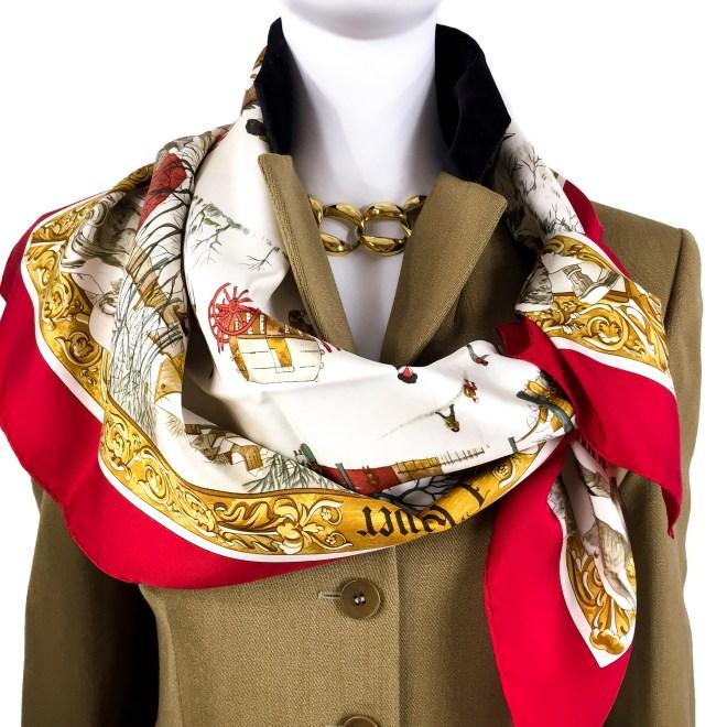 Hermes Silk Scarf L'Hiver Vintage-15
