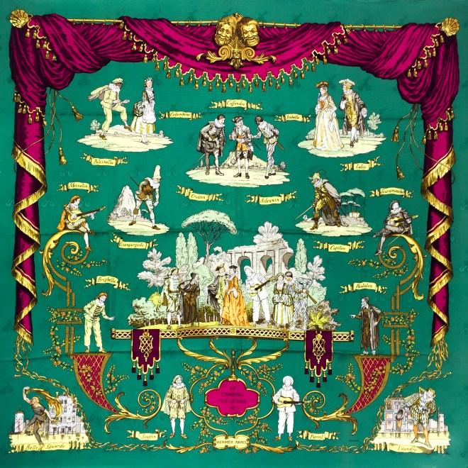 Hermes Silk Scarf La Comedie Italienne GRAIL-6