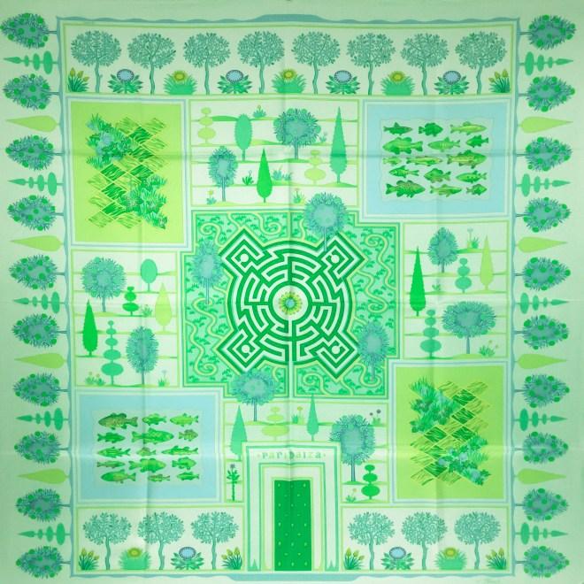 Hermes Silk Scarf Paridaiza Green