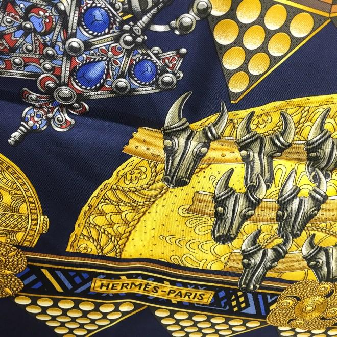 Hermes Silk Scarf L'Or des Chefs Navy-3