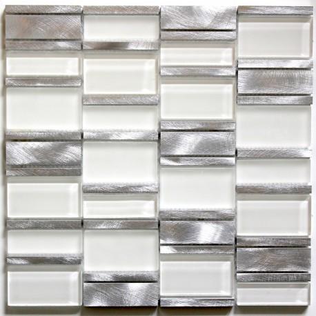 tile mosaic aluminum glass tiles kitchen splashback albi blanc carrelage inox fr