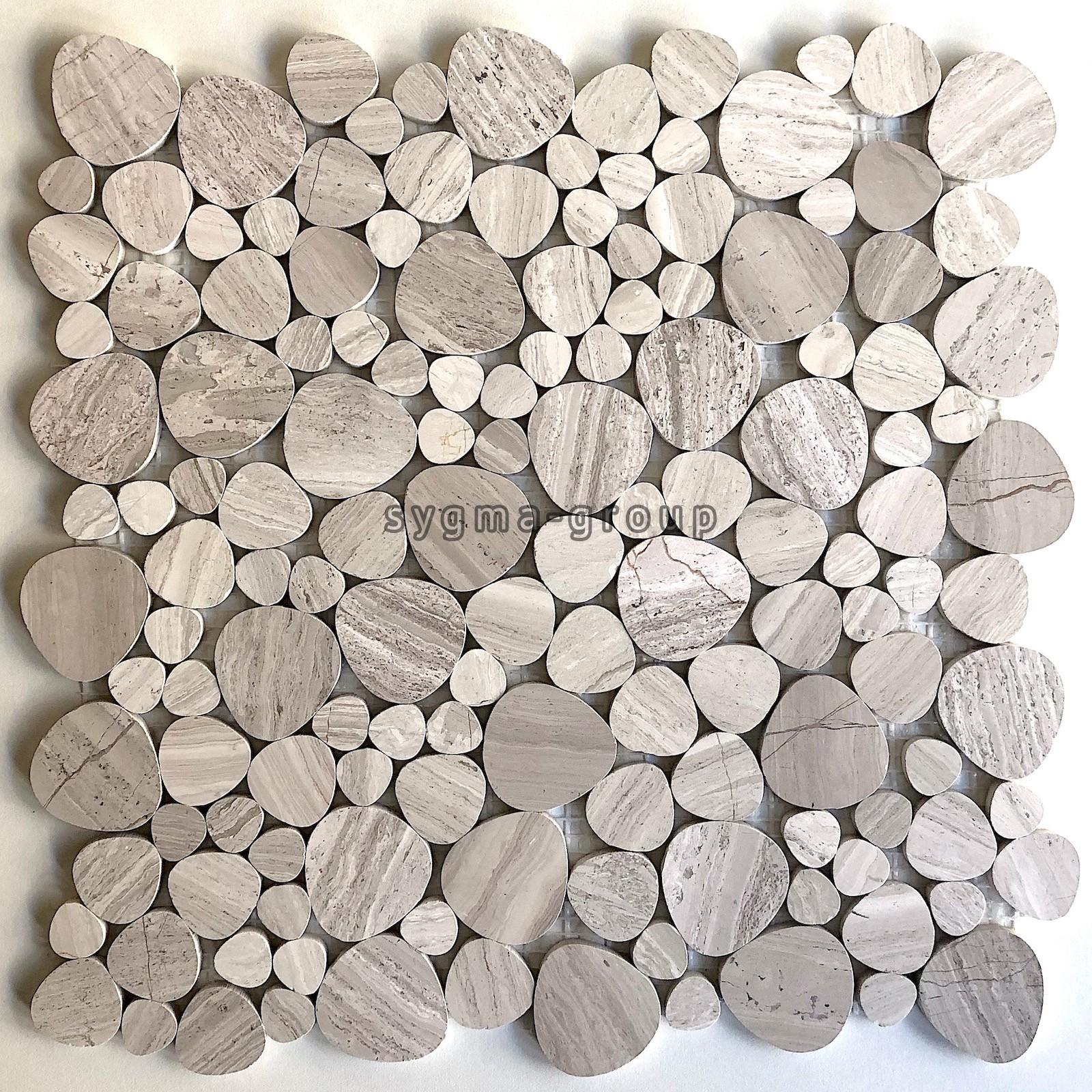 mosaique en pierre pour sol et mur salle de bain et douche galet neferti carrelage inox fr