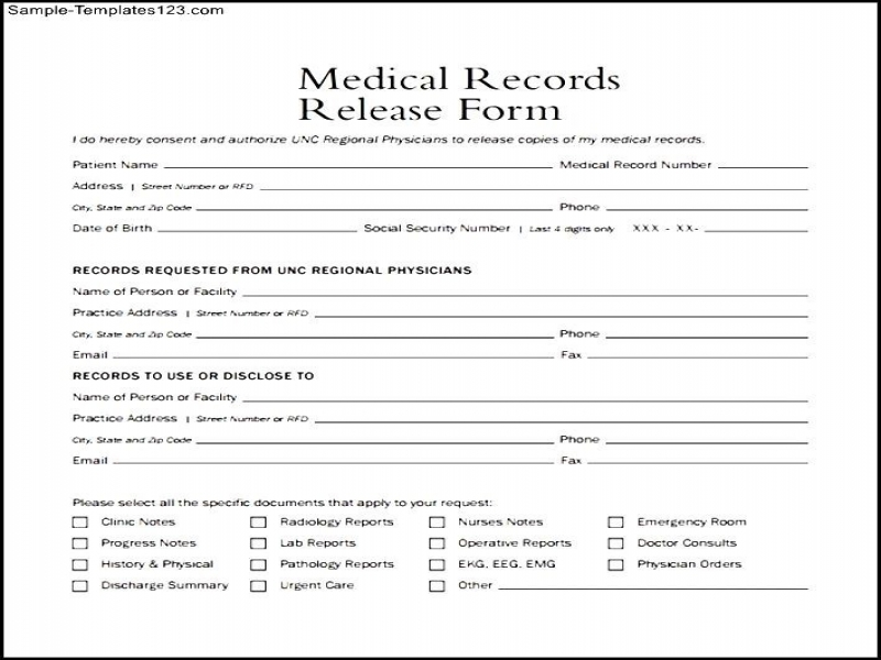 Generic Release Of Liability Form Medical Records Release Form Example Sample Templates