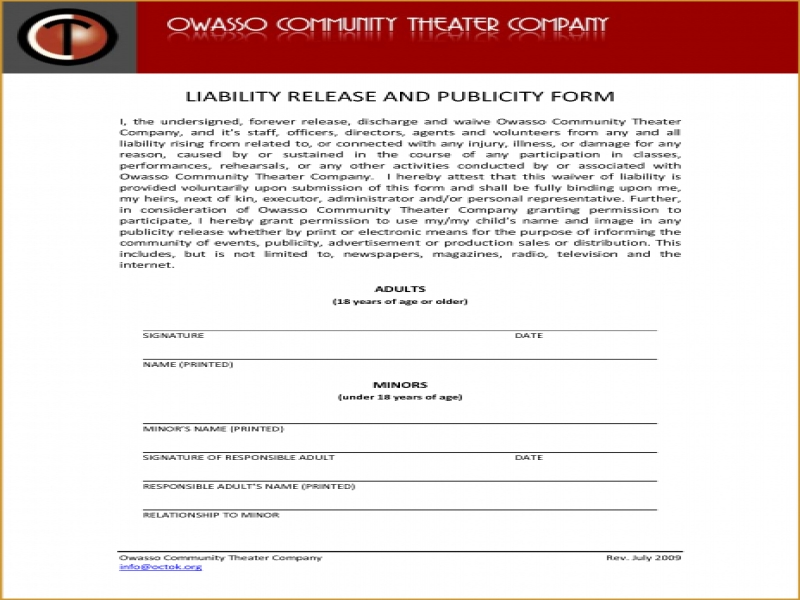 Printable Release Of Liability Form Generic Release Of Liability Form General Liability Form Car