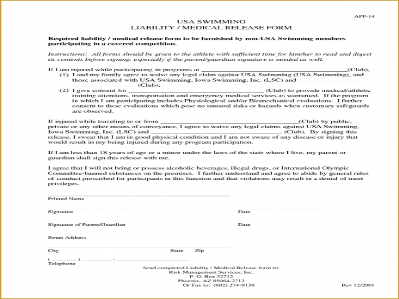 Printable Release Of Liability Form Printable Release Of Liability Form General Liability Form Car