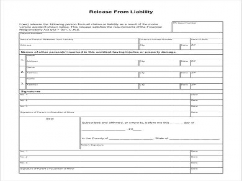 Release Of Liability Form Car Accident Sample Liability Release Form 8 Examples In Pdf Word