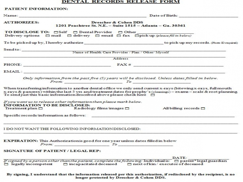 Records Release Form Release Of Liability Form For Car Dental