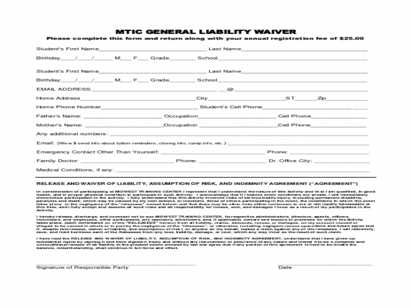 Release Of Liability Form Free General Liability Form Event General Liability Form Car Insurance