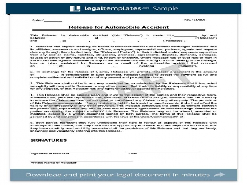 Release Of Liability Form Free Legal Waiver Form Templates Liability Release Waiver Form