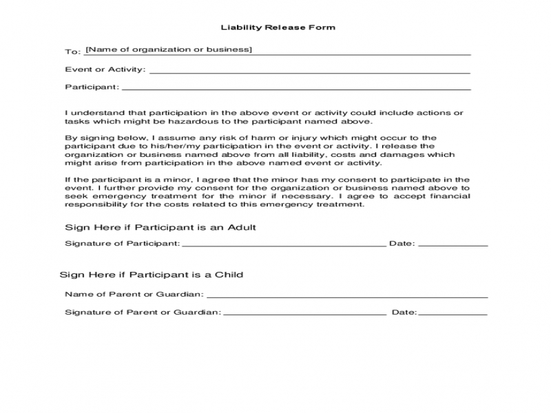 Release Of Liability Form Liability Release Form For Events Hashdoc