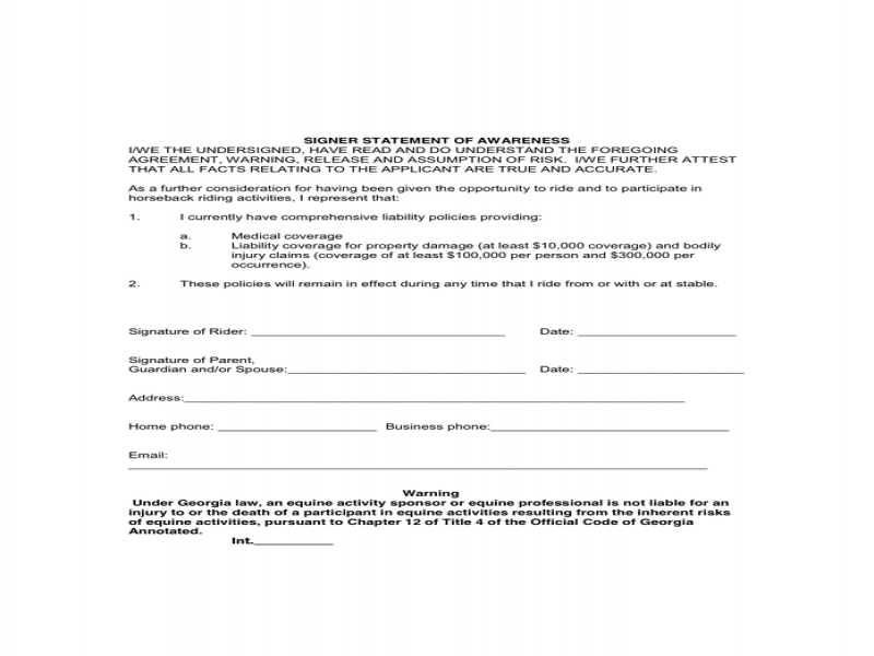 Release Of Liability Form Pdf Horse Riding Agreement And Liability Release Form In Word And Pdf