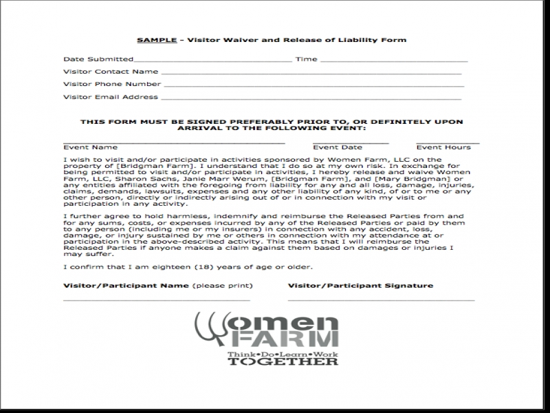 Release Of Liability Form Pdf Release Of Liability Letter Release Of Liability Waiver Form