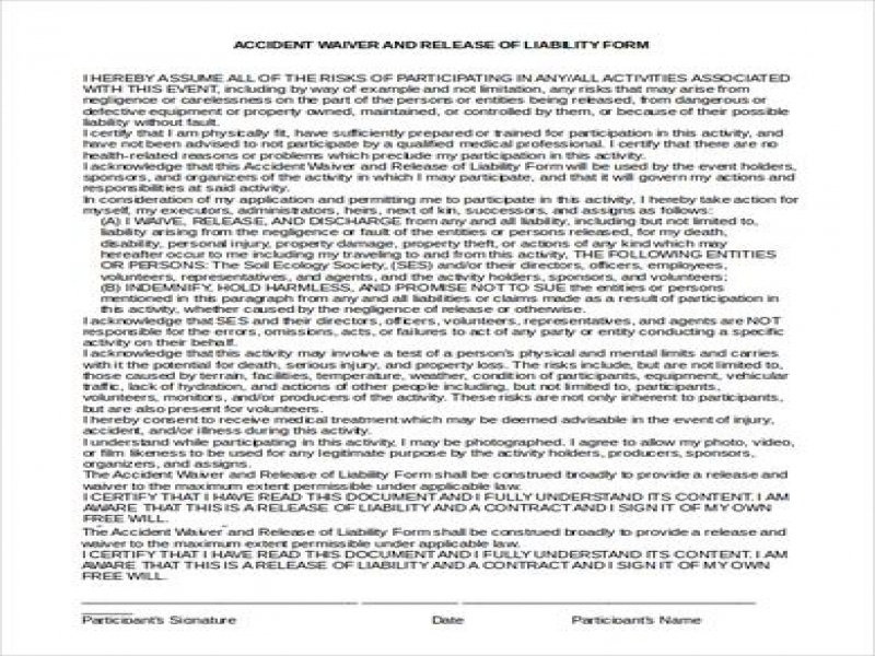 Release Of Liability Form Pdf Sample Liability Waiver 8 Examples In Pdf Word